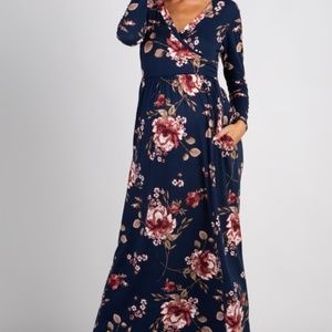 PINKBLUSH | Navy Floral Belted Maxi Dress | L